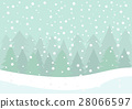 Winter scene, Falling snow and pine forest 28066597
