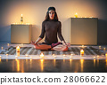Young beautiful woman meditating on lotus pose in cozy room with 28066622