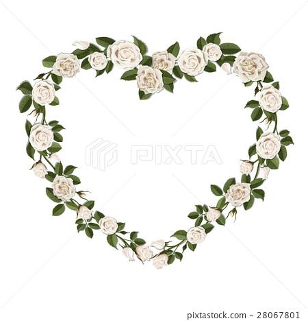 White Roses In A Heart Shape Symbol Stock Illustration 28067801