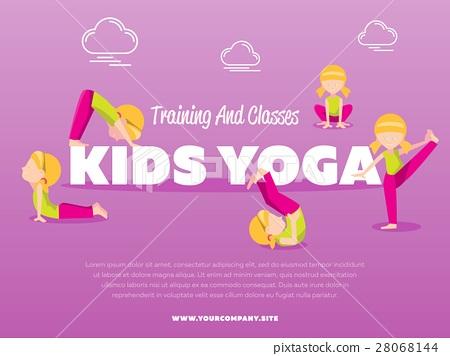 Training And Classes Kids Yoga Banner Stock Illustration 28068144 Pixta