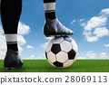 soccer player standing with soccer ball 28069113