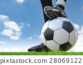soccer player standing with soccer ball 28069122