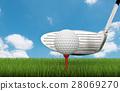 golf club with golf ball on tee 28069270