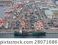 卸貨到碼頭上 龍門起重機 海港 28071686