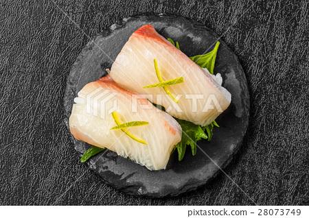 Hammer's Handful Sushi Sushi of the yellowtail - Stock Photo