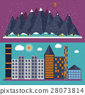 Vector illustration of a flat design with city 28073814
