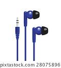 Blue headphone with mini jack connector 28075896