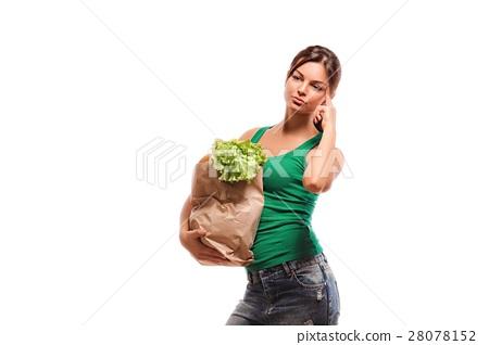 girl holding shopping paper bag  28078152