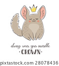 Cartoon chinchilla with crown 28078436