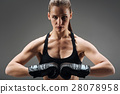 Confident woman posing with boxing gloves 28078958