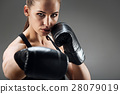 Pretty woman posing with boxing gloves 28079019