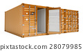 orange cargo containers, 3D rendering 28079985