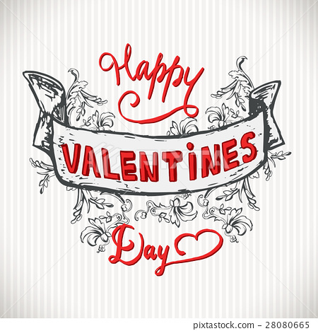 Have A Very Happy Valentines Day Lettering Vintage Stock