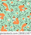 Little cute squirrels in the fall forest. Seamless 28081367