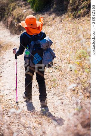 Hiking to Himalaya mountain in Nepal , trekking  28082568