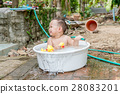 Asian baby boy outdoor bathing  28083201