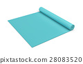 Rendering of blue half rolled yoga mat isolated on 28083520