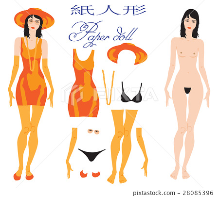 A beautiful young woman dress up paper doll. 28085396