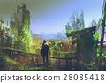 man standing on old bridge in overgrown city 28085418