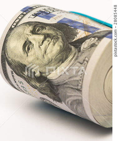 Stack of money in US dollars cash banknotes 28085448