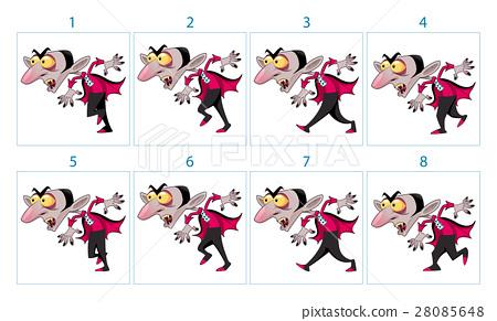 Animation of a cartoon vampire character 28085648
