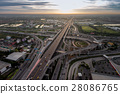 Busy highway junction from aerial view 28086765