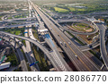 Busy highway junction from aerial view 28086770