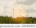 Wind turbine farm on hillside 28086803