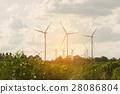 Wind turbine farm on hillside 28086804