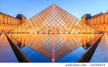 The Louvre Pyramid at dusk  28088664