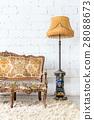 vintage sofa on white wall. 28088673