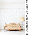 vintage sofa on white wall. 28088679