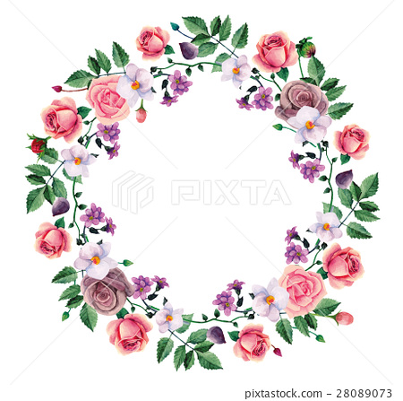 Watercolor wreath roses vector hand painted  28089073
