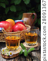 Apple juice in two glass on old wooden table 28091367