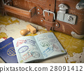Travel or turism Old  suitcase with  passport  28091412
