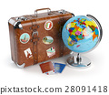 Travel or tourism. Old suitcase stickers globe 28091418