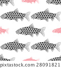 Fish Hand drawn sketched vector illustration 28091821