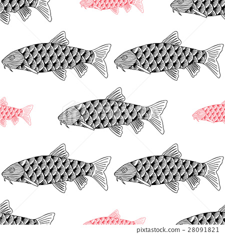 Fish Hand drawn sketched vector illustration 28091821
