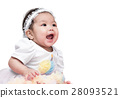 portrait of girl baby smile isolated 28093521