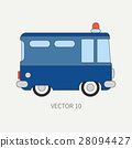 Line flat vector color icon police truck. Special 28094427