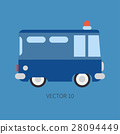 Plain flat vector color icon police truck. Special 28094449