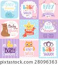 Baby shower invitation vector set card print 28096363
