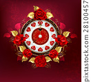 Clock with red roses 28100457