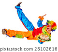 Birthday child clown with cake lying on floor 28102616