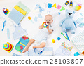 Baby with clothing and infant care items 28103897