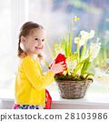 Little girl watering spring flowers 28103986