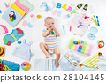 Baby with clothing and infant care items 28104145