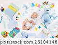 Baby with clothing and infant care items 28104146