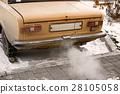 Old car smoking, environmentally dangerous vehicle 28105058