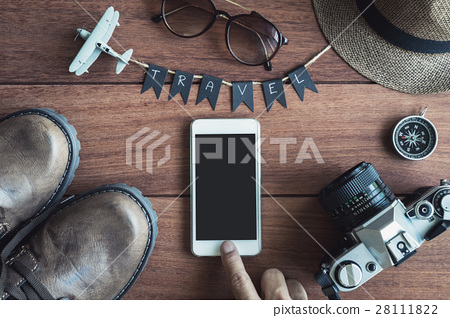 Overhead view of Traveler's accessories and items 28111822